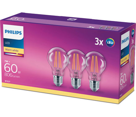 Philips LED Classic 7W(60W)E27 warmweiss, klar Triopack