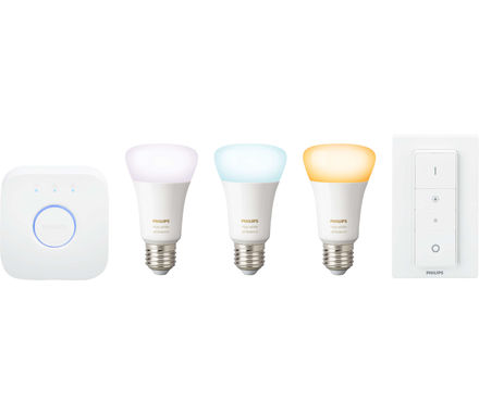 Philips Hue White Amb. .E27 3er Starter Set 3x806lm Dimmschalter
