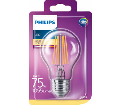 Philips Filament LED8W (75W) E27 klar ww